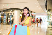 Excited shopping woman — Foto Stock