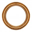 Old retro round wooden picture frame — Stock Photo