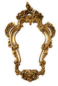 Retro golden old frame of a mirror, baroque style, isolated on — Stock Photo