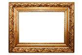 Golden old frame isolated on white (clipping paths included) — Stock Photo