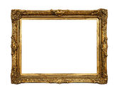 Old golden retro mirror frame, isolated on white — Stock Photo