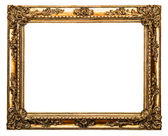 Oro viejo marco aislado en blanco — Foto de Stock