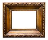 Oude gouden retro spiegel frame, geïsoleerd op wit — Stockfoto