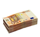 Stack of 50 euro bills, isolated on white — Stock Photo
