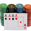 Winning. Casino Chips and four aces — Stock Photo