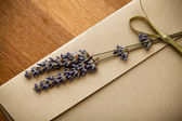Invitation envelope decorated with lavender — Stock Photo