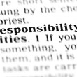 Responsibility  word dictionary — Stock Photo