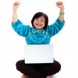 Happiest Chinese Woman with laptop — Stock Photo #21471521