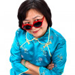 Chinese Woman funny red sunglasses — Stock Photo