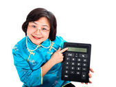 Chinese Woman with calculator, close up — Stock Photo