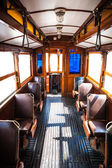 Interior of very old traditional tram — Stock Photo