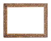 Golden Old Frame, Isolated on White — Stock Photo