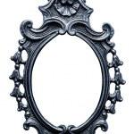 Old oval metallic Frame, Isolated on White — Stock Photo
