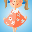 Stock Vector: Little girl in flowered dress