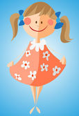 Little girl in flowered dress — Stock Vector