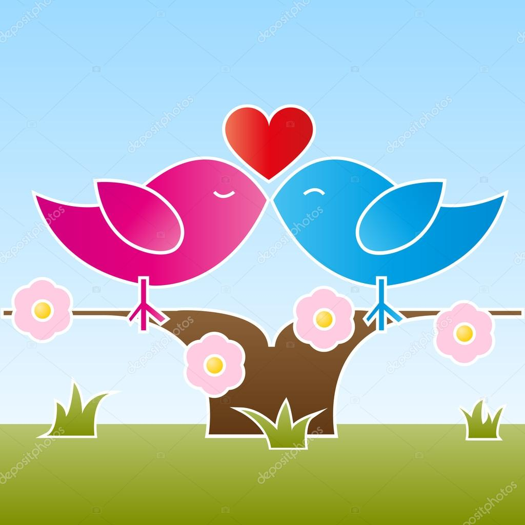 A female and a male bird sitting and kissing on a flowered tree at springtime. Vector illustration in EPS 10 with copyspace on the bottom. — Векторная иллюстрация #19379487