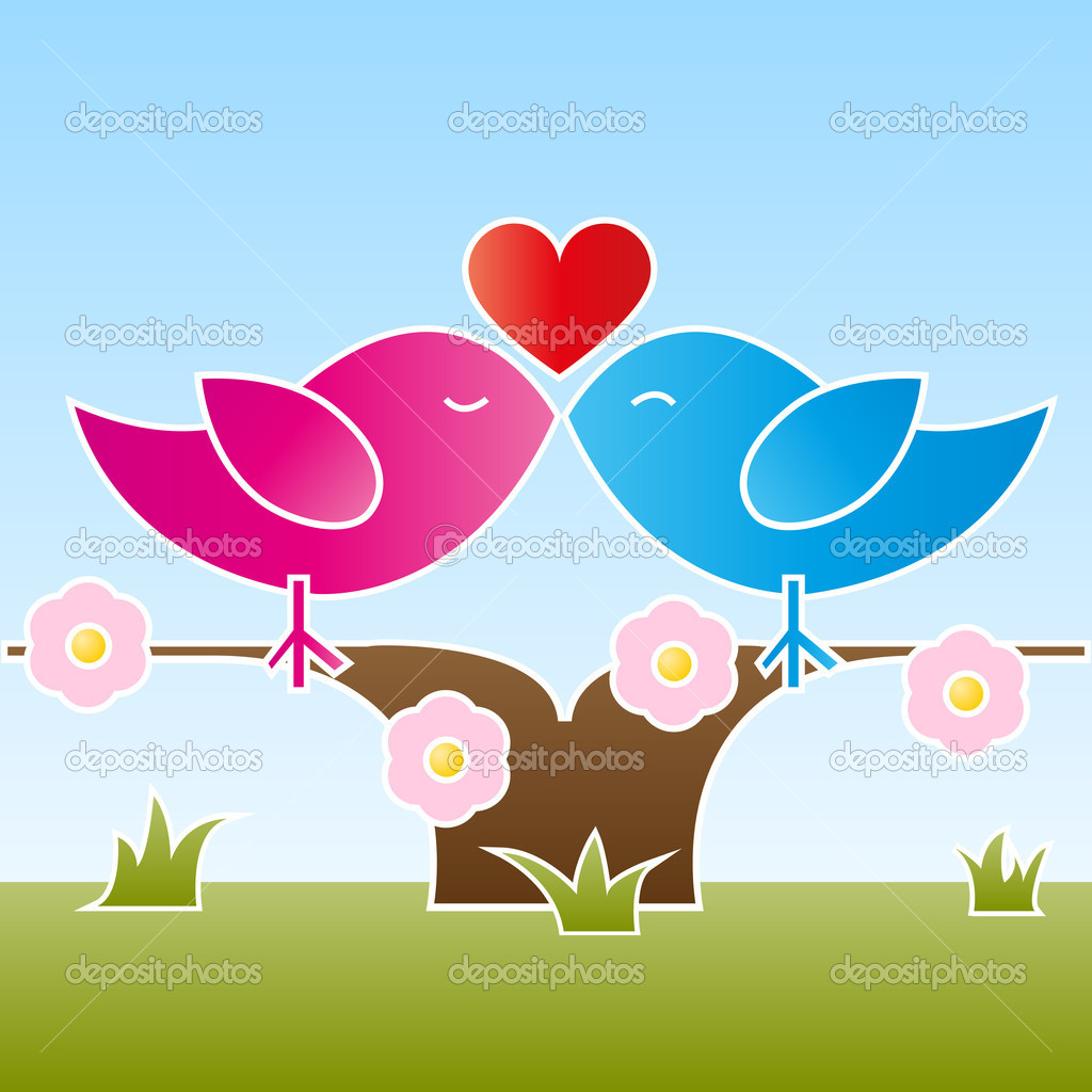 A female and a male bird sitting and kissing on a flowered tree at springtime. Vector illustration in EPS 10 with copyspace on the bottom. — Imagen vectorial #19379487