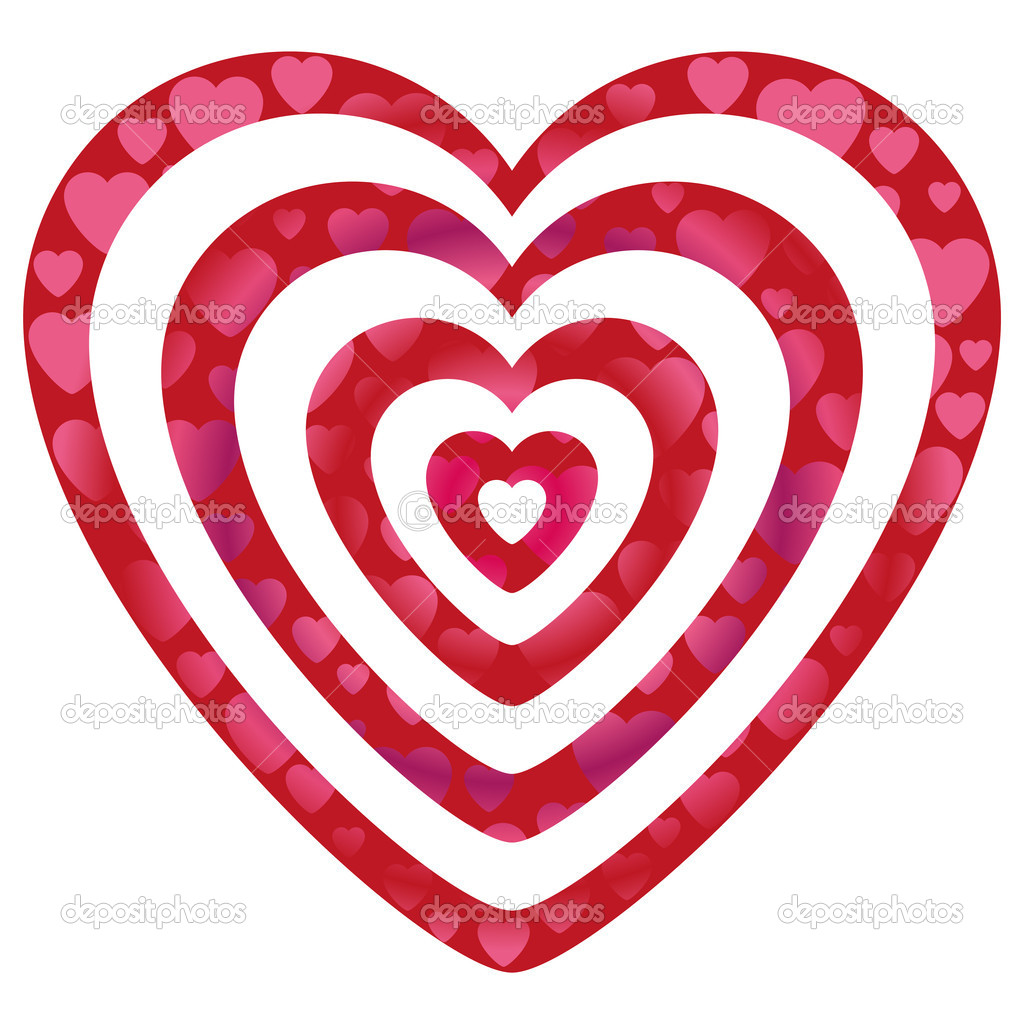 Gradient heart shapes on concentric hearts. Vector illustration, EPS 10 file added. You can change color of shapes and gradients too. — Stock Vector #19379491