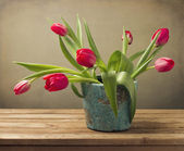 Still life with red tulip flower bouquet — Stock Photo