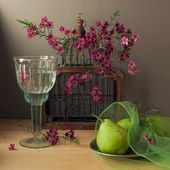 Still life with bird cage and pears — Stock Photo