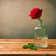 Red rose on wooden table — Stock Photo #19293945