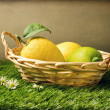 Fresh lemons in basket on grass - Stock Photo