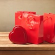 Valentine's Day still life with heart shape chocolate — Stock Photo