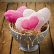 Heart shape toys in bowl — Stock Photo