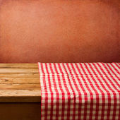 Retro background with tablecloth and red wall — Foto Stock