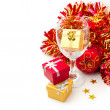 Christmas holiday still life with gift boxes and wine glass — Stock Photo