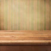 Background with wooden deck and retro wallpaper — Stock Photo