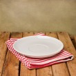 Background with empty plate and wooden table — Stock Photo #22240207