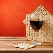 Background with glass of wine and matza for passover celebration — Stock Photo