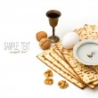 Matzo, egg, walnuts and wine for passover celebration — Stock Photo #22242275