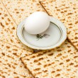 Royalty-Free Stock Photo: Background with matzo and egg on plate