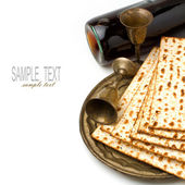 Matza and wine for passover seder celebration — Stok fotoğraf