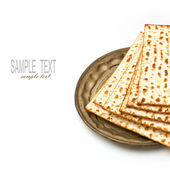 Matza for passover seder celebration on white background — Stock Photo