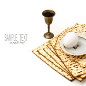 Matzo, egg and wine for passover celebration — Stock Photo