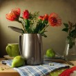 Still life with flower bouquet and pears — Stock Photo