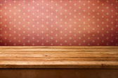 Vintage retro background with wooden deck table — Stock Photo