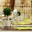 Sreet cafe table arrangment — Stock Photo
