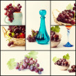 Collage with red grapes — Foto Stock