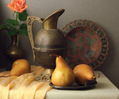 Vintage still life with brown pears — Stock Photo