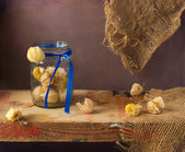 Still life with physalis on wooden board — Stock Photo