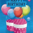 Happy birhday card design with gift box and balloons. — Stock Vector