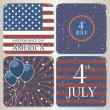 Set of vintage cards for 4th of July Independence Day of America. — Stock Vector