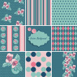 Set of shabby chic seamless patterns. — Stock Vector