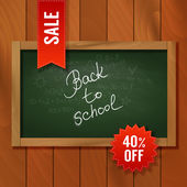 Sale sign over chalkboard with wooden texture. — Stock Vector
