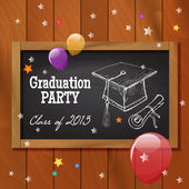 Graduation party poster design. — Stock Vector