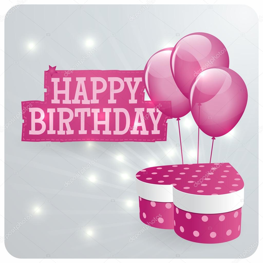 Happy birthday card design with pink balloons and gift box